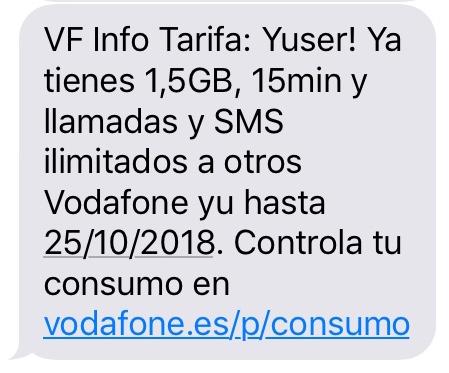 スペインのvodafoneのチャージ完了メッセージ