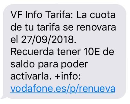 スペインのvodafone更新メッセージ