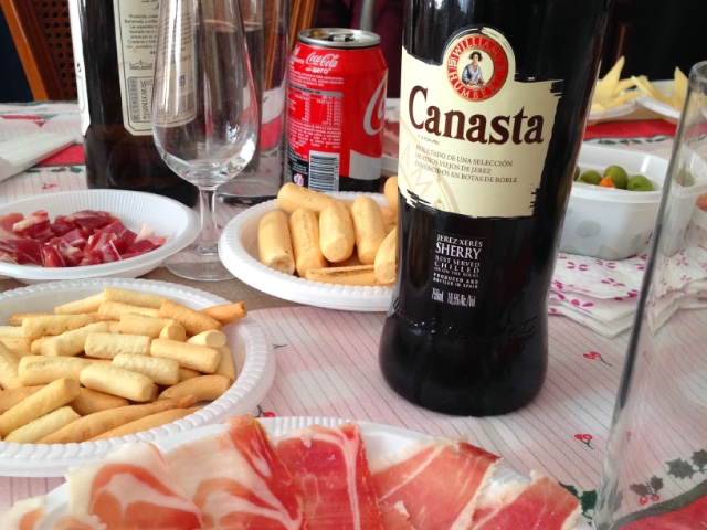 スペインのクリスマスの食事とシェリー酒