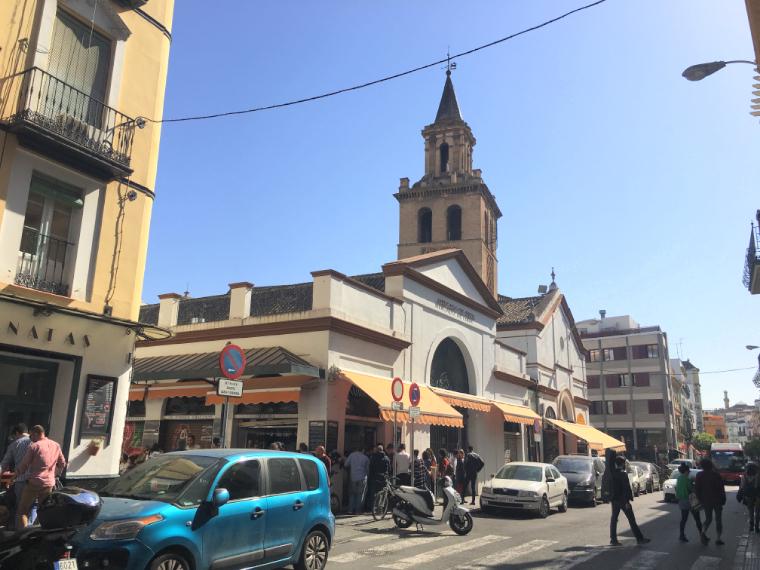 セビリアのフェリア通りの市場