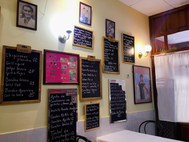 アンテケラのレストラン「Meson Adarve」のメニュー