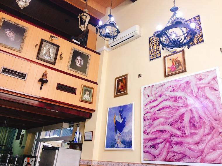 マラガのシーフードレストラン「Casa Vicente」の店内