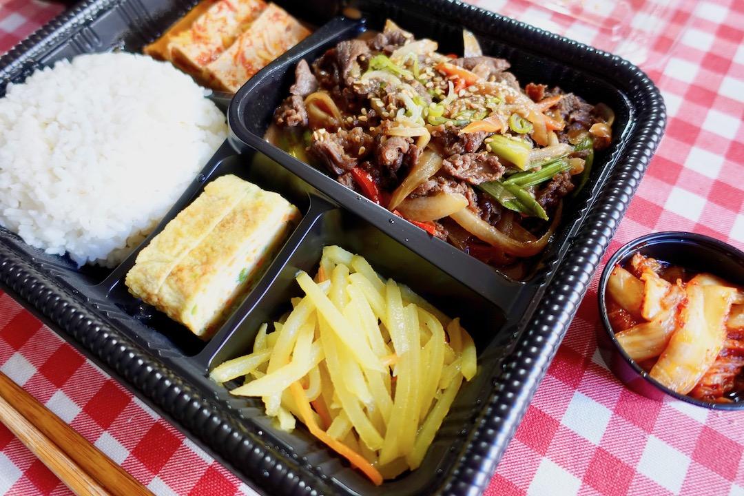 セビリアの韓国料理レストラン「moon」のプルコギ弁当