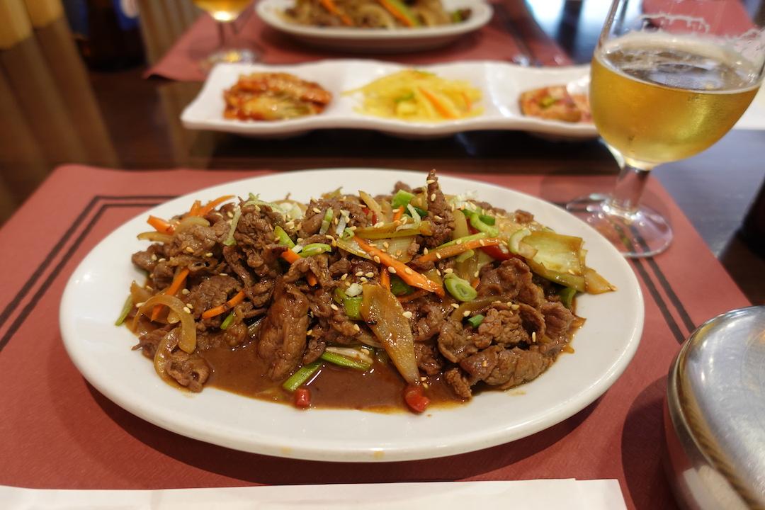 セビリアの韓国料理レストラン『MOON』のプルコギ