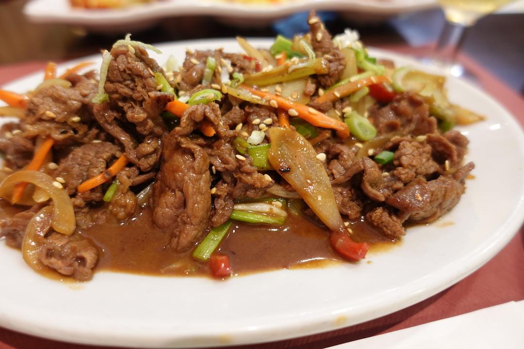 セビリアの韓国料理レストラン「MOON」のプルコギ