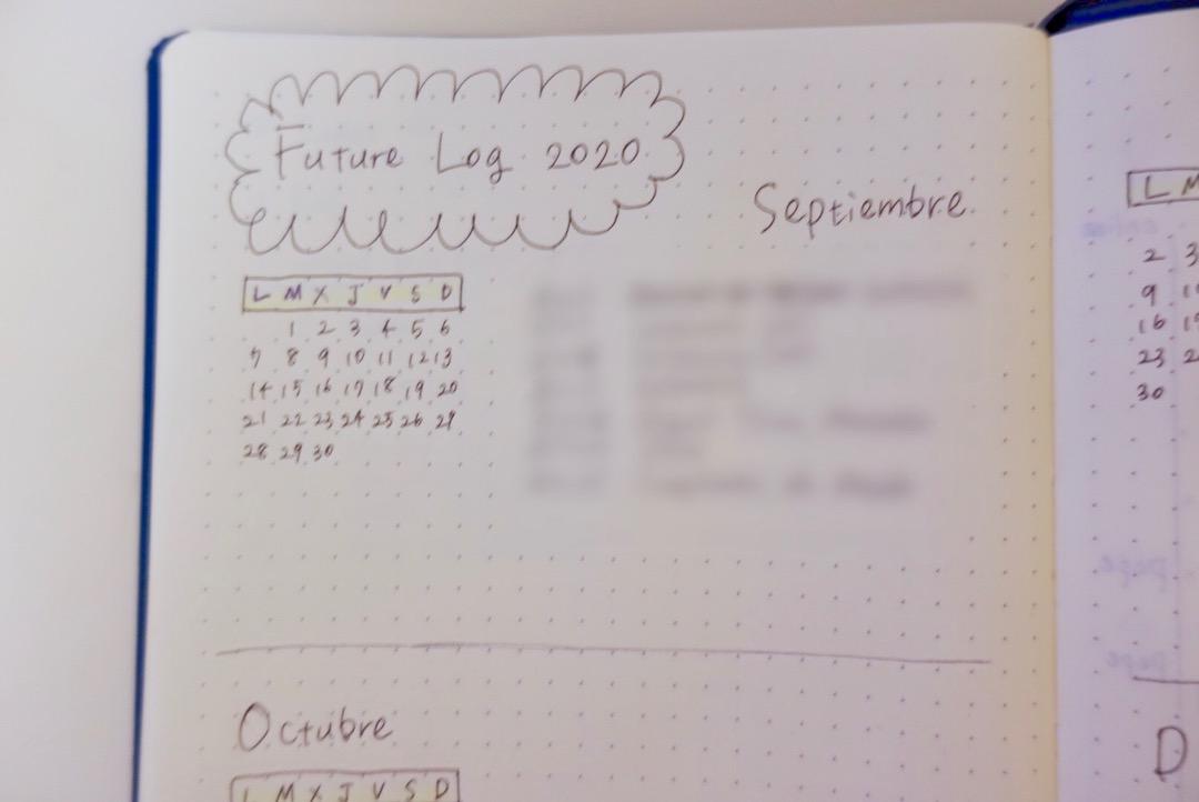 バレットジャーナルのフューチャーログ(future los)スペイン語